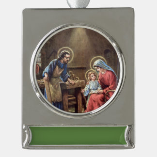 vintage the holy family, Jesus christ, Josef,Mary, Silver Plated Banner Ornament