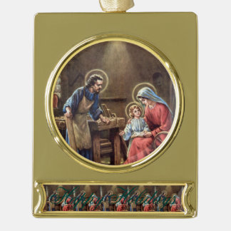 vintage the holy family, Jesus christ, Josef,Mary, Gold Plated Banner Ornament
