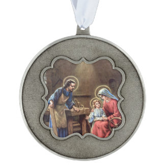 vintage the holy family, Jesus christ, Josef,Mary, Scalloped Pewter Christmas Ornament