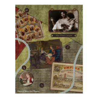 """Vintage """"The Sewing Lesson"""" Scrapbook Print"""