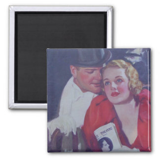 Vintage Theater Couple Square Magnet