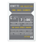 Vintage Theatre Ticket Insert in Grey and Yellow Card