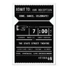 Vintage Theatre Ticket Reception Insert in Black Card