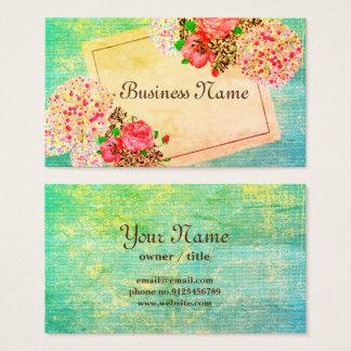 vintage theme, floral, retro business card