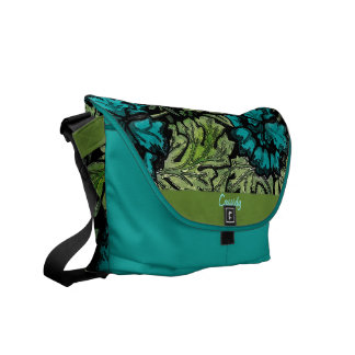 Vintage Themed Floral Bag in Blue and Green Commuter Bag