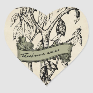 Vintage Theobroma Cacao Raw Chocolate Heart Sticker