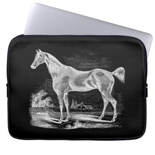 Vintage Thoroughbred Horse Equestrian Personalised Laptop Sleeve