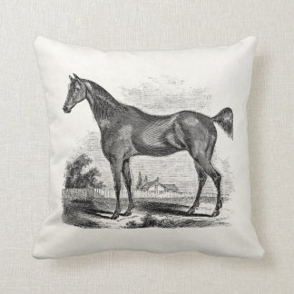Vintage Thoroughbred Horse Equestrian Personalized Cushion