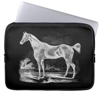 Vintage Thoroughbred Horse Equestrian Personalized Laptop Computer Sleeve