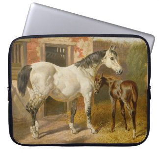 Vintage Thoroughbred Mare and Foal Laptop Sleeve