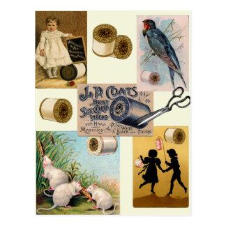 Vintage Thread Sewing Collage Postcard