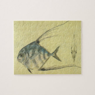 Vintage Threadfin Trevally, African Pompano Fish Jigsaw Puzzle