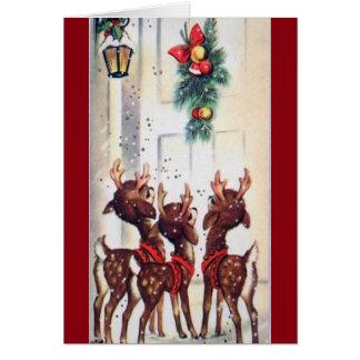 Vintage Three Christmas Reindeer At The Door Card