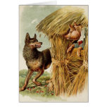 Vintage Three Little Pigs; Big bad Wolf and Pig Greeting Card