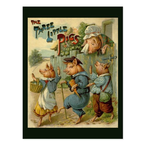 Vintage Three Little Pigs, Mom is Sad and Crying Post Cards