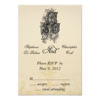 Vintage Three Monogram Initials Wedding RSVP Cards 9 Cm X 13 Cm Invitation Card