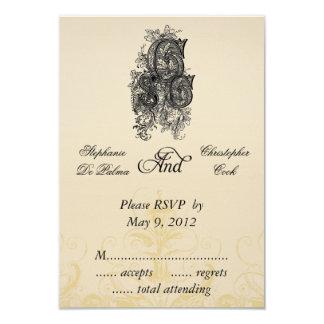 Vintage Three Monogram Initials Wedding RSVP Cards 9 Cm X 13 Cm Invitation Card