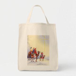 Vintage Three Wise Men Organic Grocery Tote Bag