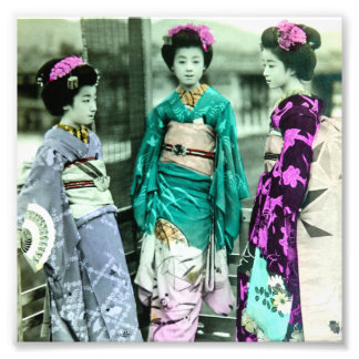 Vintage Three Young Geisha in Old Japan Photo Print