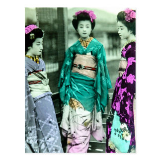Vintage Three Young Geisha in Old Japan Postcard