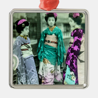 Vintage Three Young Geisha in Old Japan Silver-Colored Square Decoration