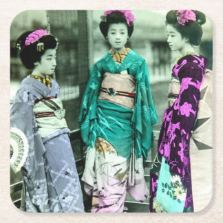 Vintage Three Young Geisha in Old Japan Square Paper Coaster