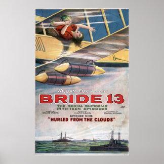 Vintage Thriller Biplane Bride 13 Silent Movie Poster