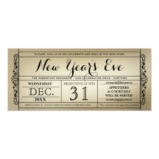 """Vintage Ticket New Year's Eve Party Invitations 4"""" X 9.25"""" Invitation Card"""