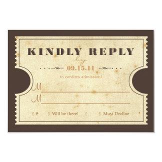 "Vintage Ticket RSVP 3.5"" X 5"" Invitation Card"