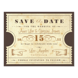 """Vintage Ticket Save the Date 4.25"""" X 5.5"""" Invitation Card"""
