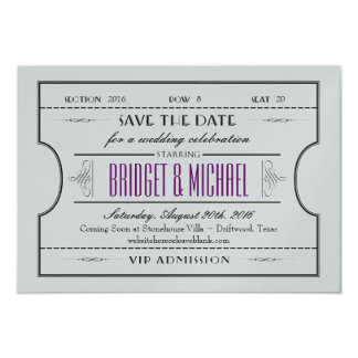 Vintage Ticket Save The Date Wedding Card