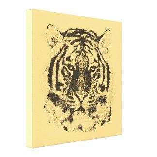 Vintage Tiger Face Stretched Canvas Prints
