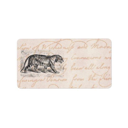 Vintage Tiger Illustration Tigers Template Address Label