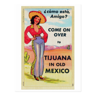 Vintage Tijuana Old Mexico Postcard Pin Up