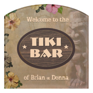 Vintage Tiki Bar Sign with Your Name(s) Door Sign