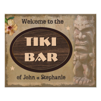 Vintage Tiki Bar Sign with Your Name(s) Poster