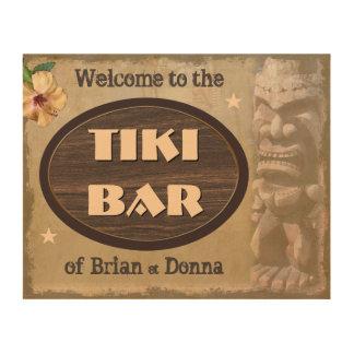 Vintage Tiki Bar Sign with Your Name(s) Wood Prints