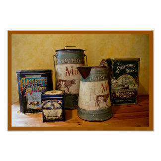 Vintage Tins and Jugs Poster