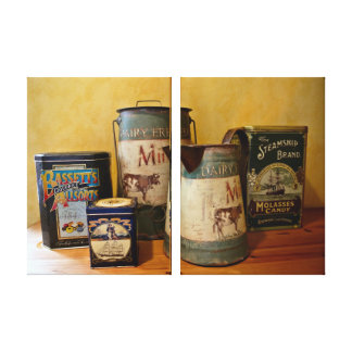 Vintage Tins and Jugs Stretched Canvas Print