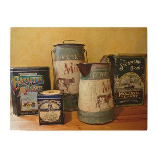 Vintage Tins and Jugs Wood Print