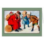 Vintage tired Santa Claus, children Cards