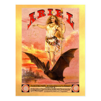 Vintage tobacco label with woman riding a bat postcard