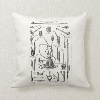 Vintage Tobacco Pipes and Old Hookah Illustration Throw Pillow