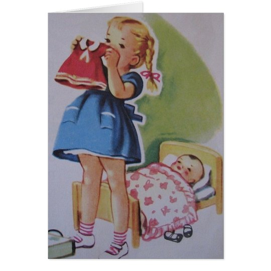 Vintage Toddler Girl And Baby Doll Card