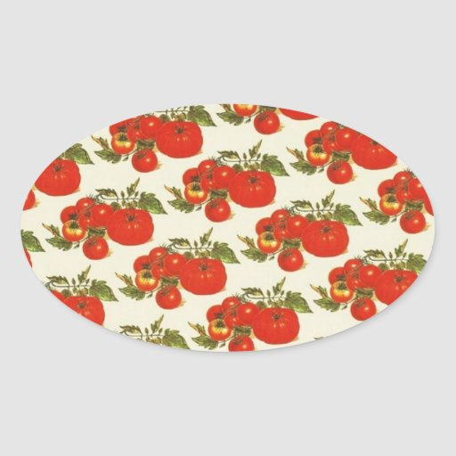 Vintage Tomatoes Oval Sticker