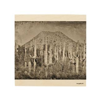 Vintage Tonto Mountains and Saguaro Wood Wall Art