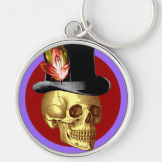 Vintage Top Hat Skull Vivid Silver-Colored Round Key Ring