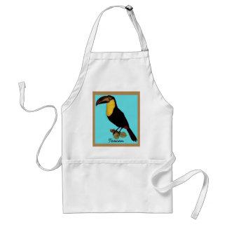 VINTAGE TOUCAN BIRD. YELLOW-THROATED TOUCAN APRON