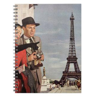 Vintage Tourists Traveling in Paris Eiffel Tower Spiral Notebook