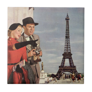 Vintage Tourists Traveling in Paris Eiffel Tower Small Square Tile